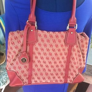 Dooney & Bourke Red Logo Canvas Tote
